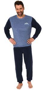 Langer Herren Frottee Pyjama, Schlafanzug mit Bündchen - 212 101 13 800, Farbe:blau-melange, Größe:52