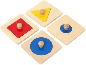 4 Stück / Set Buntes Geometrisches Formpuzzle Montessori DIY-Spiel-Puzzle Geeignet für die Form- und Farbklassifizierung Von Kindern
