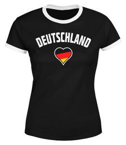 Damen WM-Shirt Deutschland Herz 2018 Retro Trikot-Look Moonworks®  schwarz-weiß XS