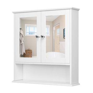 JEOBEST Spiegelschrank Badschrank Hängeschrank Spiegel mit Ablage Schminkschrank aus Holz 56 x 58 x 13cm weiß