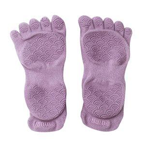 Yoga Socken Toeless Grippy Rutschfeste Grip Zubehör für Frauen Pilates Fitness Einheitsgröße Lila M.