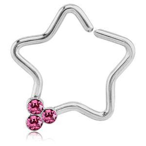 viva-adorno Knorpel Piercing Stern Kristall Ohrpiercing Helix Cartilage Tragus 316L Chirurgenstahl verschiedene Farben Z490,Stern 3x silber / pink