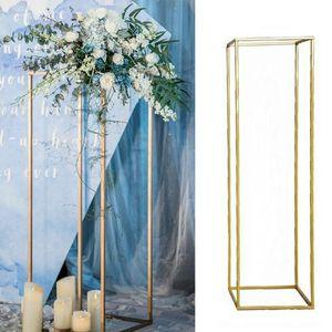 60cm Blumenregal Metall Kunst Hochzeit Geometrische Vase Säule Stand Prop Party Dekoration Hochzeitsdekoration-Gold