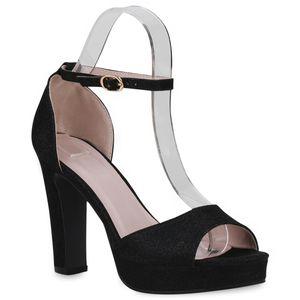 Mytrendshoe Damen Sandaletten High Heels Blockabsatz Party 834628, Farbe: Schwarz, Größe: 39