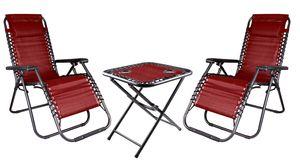 Relax Set aus 2x Sessel mit Kopfkissen und 1x Tisch , Farbe: Schwarz/Rot