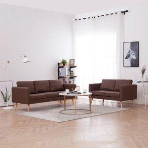 2-tlg. Sofagarnitur Stoff Braun Wohnlandschaft-Sofa Relaxsofa für Wohnzimmer Schlafzimmer Esszimmer