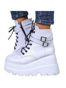 Damen Plateaustiefel Bunte High-Top-Schnalle Lässige Damenschuhe,Farbe: Weiß,Größe:39