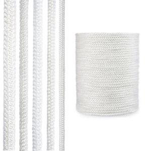 STEIGNER Ofendichtschnur Kamindichtung aus GLASFASERN, hitzebeständig bis 550°C, Weiss, 5m, 12mm, SKD02