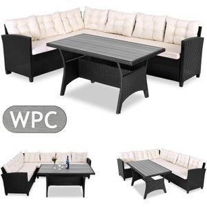 Casaria Poly Rattan Sitzgruppe Lounge WPC Tischplatte 20cm Kissen 7cm Auflagen Garten Ecklounge für 6 Personen Gartenmöbel Set