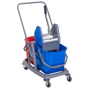 HOMCOM Putzwagen Reinigungswagen Wischwagen mit 2 Eimern Systemwagen mit 4 leichtgängigen Rollen Metall+PP Blau+Rot 73 × 45 × 92 cm