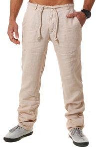 Young & Rich Herren Leinenhose Sommerhose 100% Leinen mit Kordelzug leichter Tragekomfort tapered legs T4080, Grösse:XL, Farbe:Beige