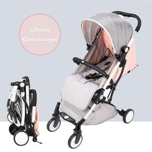 Libeika Buggy klein zusammenklappbar Reisebuggy mit Liegeposition Pink Kinderwagen