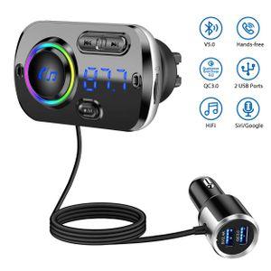 Bluetooth FM Transmitter, Auto FM Transmitter mit QC3.0/2.4A Dual USB Schnellladung, Auto Bluetooth Radio Adapter mit Mikrofon Unterstützt Siri Google, TF Karte Aux, Anschluss für 2 Telefone