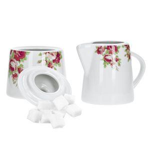 2-tlg Zucker Milch Set Rosentraum Tafel Zuckerdose 300ml Milchkanne 220ml Zuckerspender Porzellan
