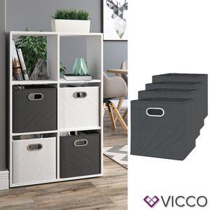 Vicco 4er Set Faltbox 30x30 cm anthrazit Faltkiste Aufbewahrungsbox Regalbox