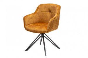 Drehbarer Design Stuhl EUPHORIA senfgelb Samt im Retrostil mit Ziersteppung Esszimmerstuhl Armlehnstuhl