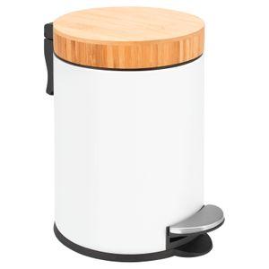 bremermann Kosmetikeimer mit Bambusdeckel, 3 L, matt weiß