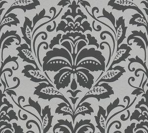 Barock Tapete Profhome 369102-GU Vliestapete glatt im Barock-Stil glänzend silber grau 5,33 m2