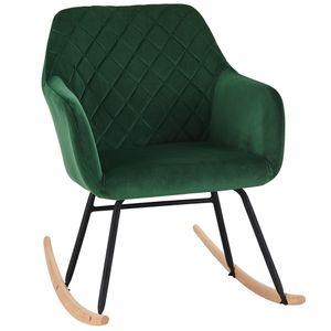 Schaukelstuhl Schwingstuhl Stoff Samt grün gesteppt Schwingsessel Relax Stuhl Armlehnstuhl