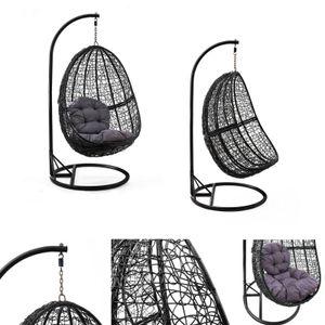 Hängesessel Schaukel Korb Polyrattan mit Gestell und Sitzkissen bis 160 kg