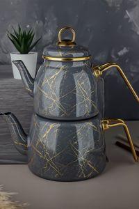 Elite Class Marmor optische emaillierte Teekanne in Grau, Induktion geeignet, Türkische Teekanne, Teekocher, Türkische Teekanne Set Caydanlik