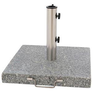 VCM Sonnenschirmständer 30kg Granit poliert grau eckig Edelstahl 45 x45 cm  Griff