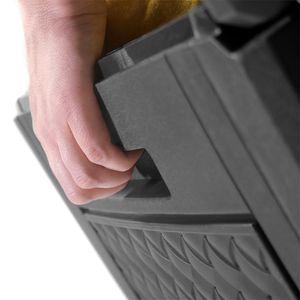 Truhe klappbarer Deckel Haltegriffe Rollen Rattanoptik anthrazit Gartenbox Auflagenbox Kissenbox, Muster / Farbe:Rattanoptik - grau