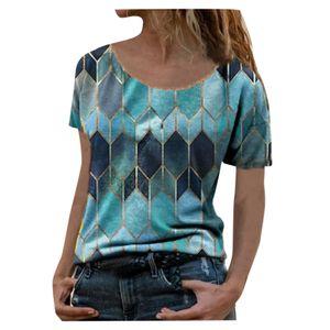 Mode Frauen Rundhals Patchwork Retro Print Kurzarm Shirt Bluse Tops Größe:L,Farbe:Blau
