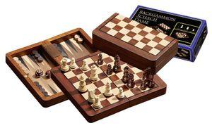 Schach-Backgammon-Dame-Set, magnetisch, Feld 18 mm, Königshöhe 37 mm, Reisespiel