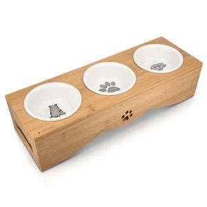 Navaris Futterstation für Katzen und Hunde - Futternapf Set aus Keramik - erhöhter 3er Napf Ständer - 3 x Fressnapf Katzennapf spülmaschinenfest