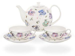 Buchensee Teeservice / Teeset / Teekanne 1,5 liter mit 2 Tassen je 150ml, Tassendeko, Fine Bone China