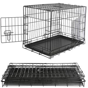 L Hundetransportbox Hundeklappkäfig Gitter schwarz