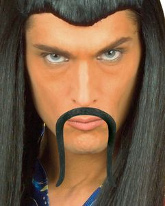 Chinesischer Schnurrbart Selbstklebend Schwarz als Kostümaccessoire für Halloween und Karneval