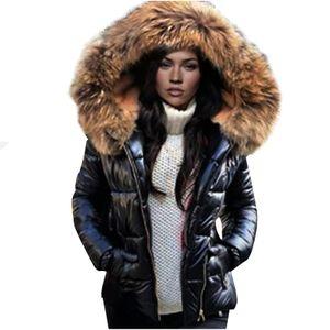 Mode Frauen Winter Hals Kapuze Daunen Warmer Mantel Daunenjacke Windbreaker Mantel Größe:XXL,Farbe:Schwarz