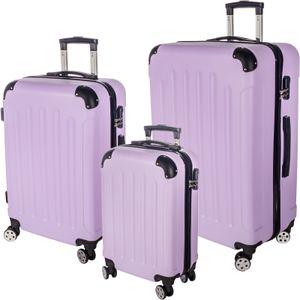 3er Reisekoffer Set mit Rollen & Zahlenschloss Hartschalenkoffer Gr. M/L/XL Lavendel Trolley Handgepäck Reisegepäck Kofferset Hardcase Travel