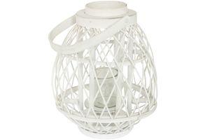 Bambus Laterne mit Glaseinsatz 26 x 33 cm weiß Holzlaterne