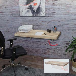 Wandtisch HWC-H48, Wandklapptisch Wandregal Tisch, klappbar Massiv-Holz  100x50cm naturfarben