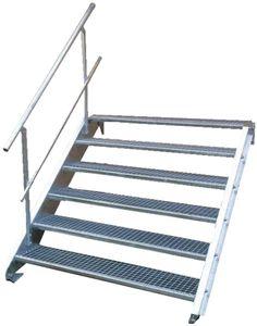 Stahltreppe 6 Stufen-Breite 100cm Variable-Höhe 90-120cm mit einseit. Geländer