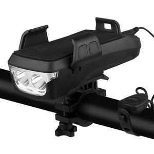 4 in 1 Fahrradlicht, Frontlicht fahren, Handyhalter mit Hupe, Ladeschatz, Fahrrad Mountainbike Licht-2400 mA