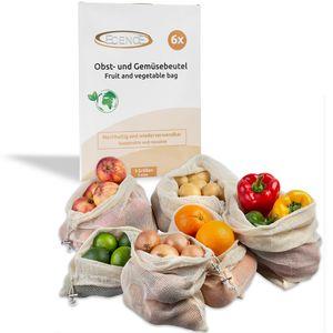 ECENCE Obst- und Gemüsebeutel, 6 Stck. in 3 Größen, wiederverwendbares Einkaufsnetz, Baumwollnet