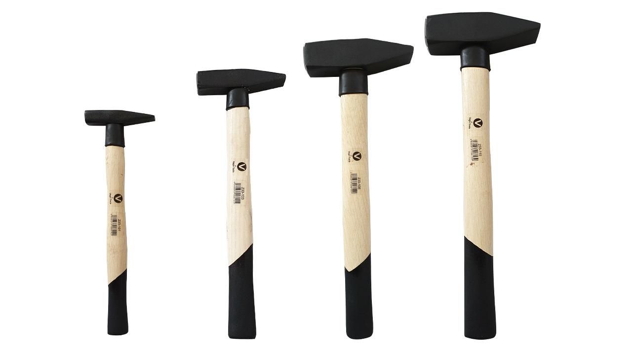 Schlosserhammer 100 g mit geschweiftem Holzstiel