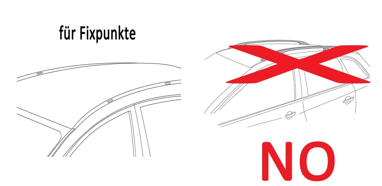 hochstehender cm mit normaler Dachreling f/ür U-B/ügel Montage oder T-Nut Montage mit 14 mm Breite BB-EP-Menabo Einfacher Aluminium Dachtr/äger 90302545 f/ür Hyundai Santa Fe