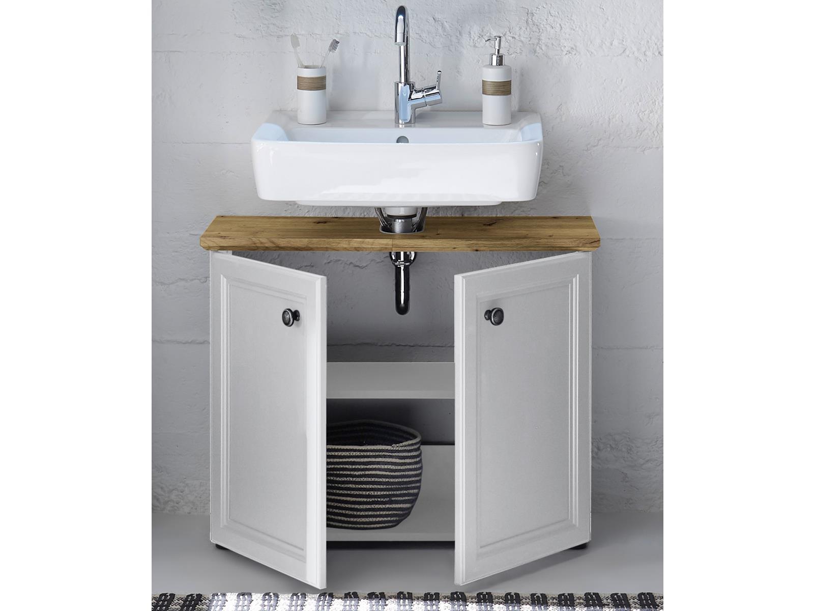 Waschbeckenunterschrank Badschrank Unterschrank Badm/öbel Schrank Bad Tomlin I Grau//Timber Wood