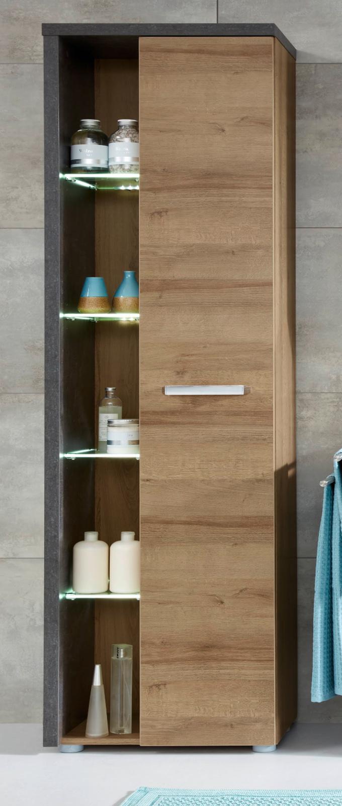 Badezimmer Hochschrank Eiche Honig Nb. und grau Beton Design 20 x 20 cm  Badschrank mit Soft Close Badmöbel Bay