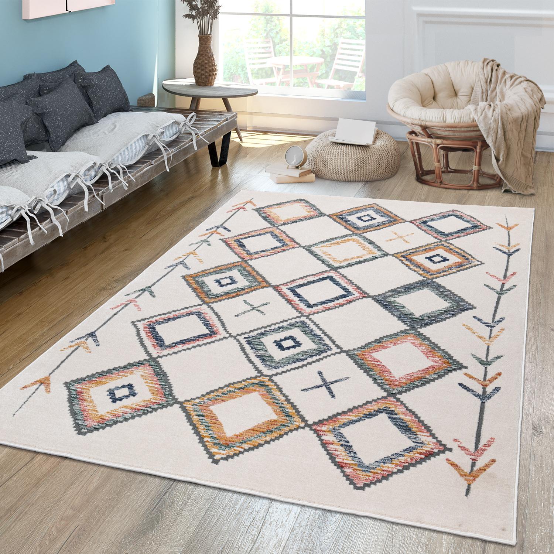 Wohnzimmer Teppich Kurzflor Mit Buntem Modernem Ethno Rauten Design  Pastell, FarbeMehrfarbig, Größe50x50 cm