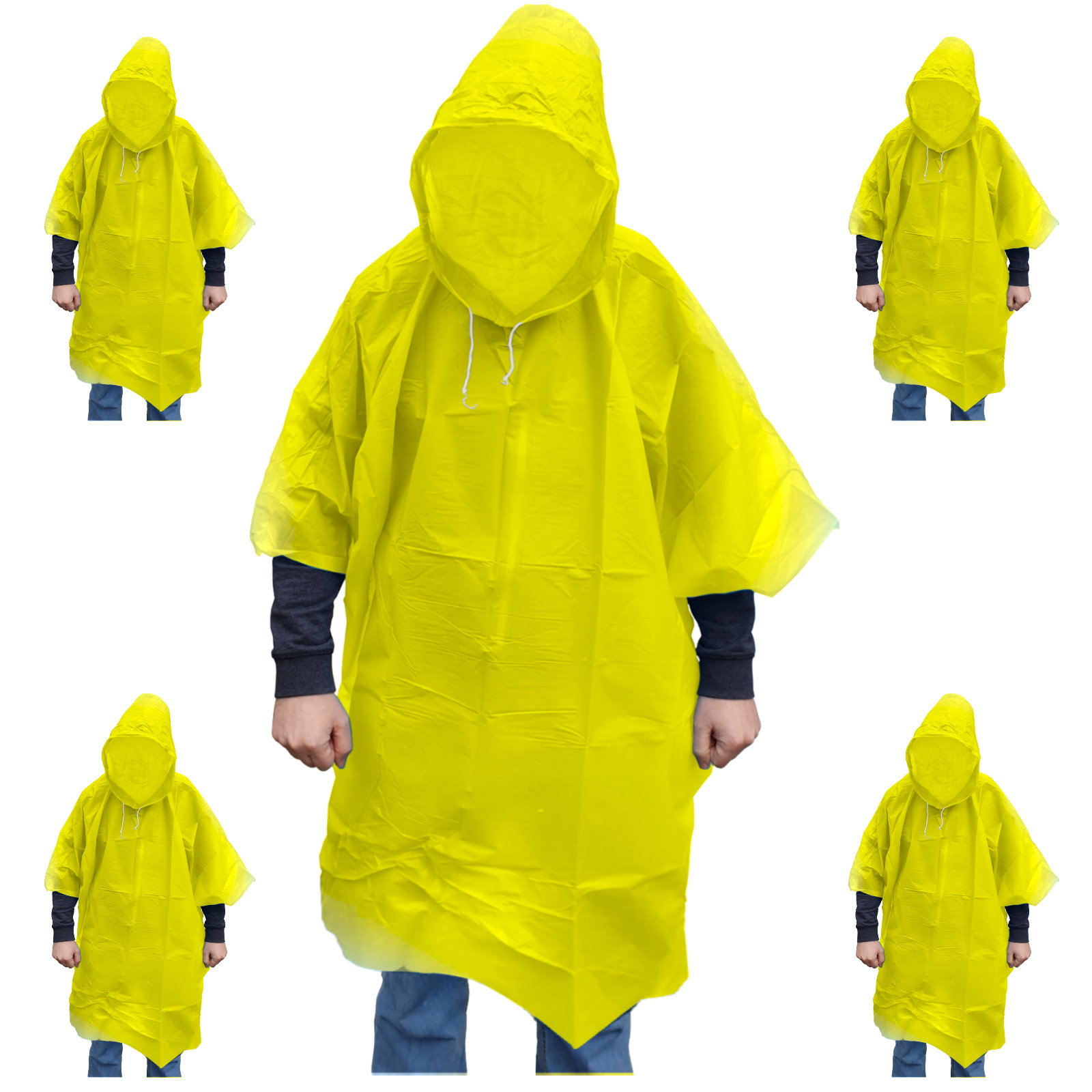 9500 Regenponcho mit Kaputze Regen Poncho gelb