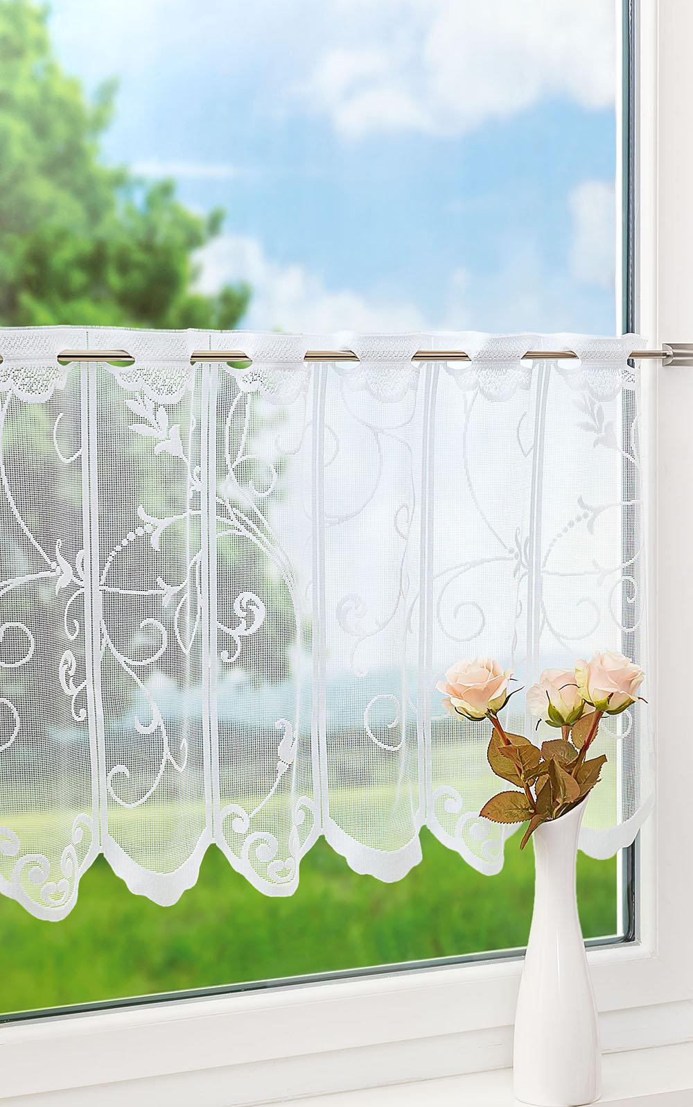 Scheibengardine von LYSEL®   Ranken Bx H 20cm  20cm weiß