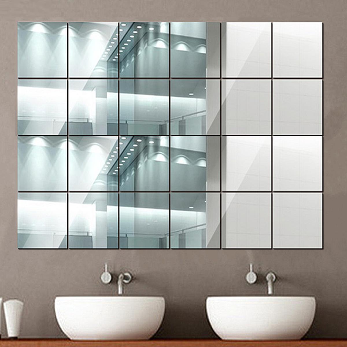 20X Spiegelfliesen Wandspiegel PVC Spiegelfolie Selbstklebend Aufkleber