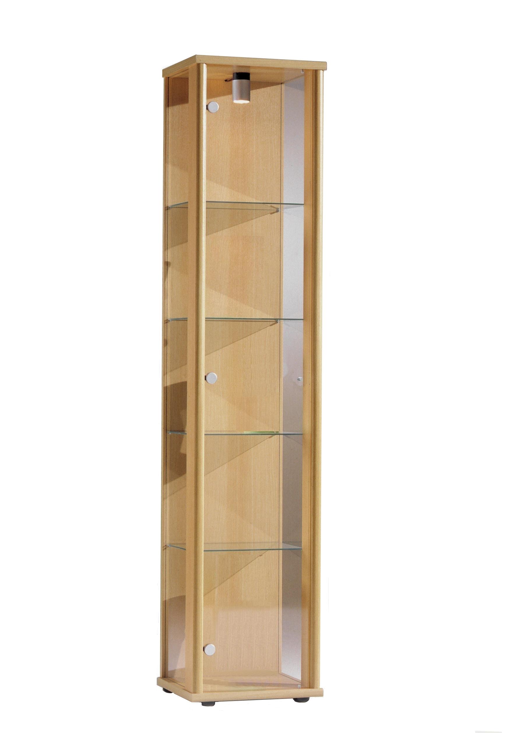 VR Wohnideen Glasvitrine in Buche Nachbildung 12x12x12 cm mit 12  höhenverstellbaren Glasböden aus ESG; beleuchtet; perfekt für Sammler;