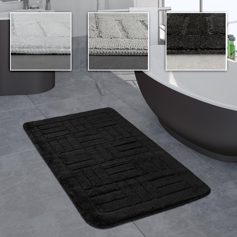 Badezimmer Teppich Badvorleger Kariertes Muster In Versch. Größen u.  Farben, Grösse20x20 cm, FarbeSchwarz